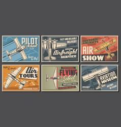 Aircraft museum pilot school aviation posters vector