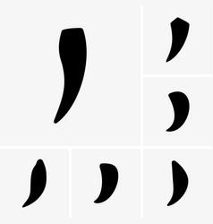 Animal canine teeth icons vector