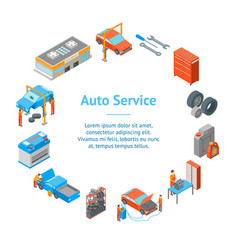 Auto service 3d banner card circle isometric view vector