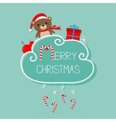 Baby bear in Santa hat giftbox snowflake ball vector