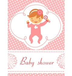 Baby shower Girl with rattle vector image