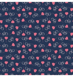 Background with bicycles and heart balloons vector image