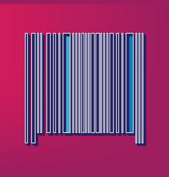 bar code sign blue 3d printed icon on vector image