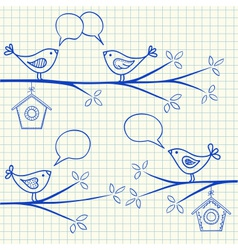 birds sitting on a branch with birdhouse vector image