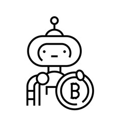 bitcoin mining line icon concept sign outline vector image