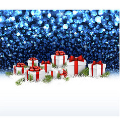 Blue New Year background with gifts vector