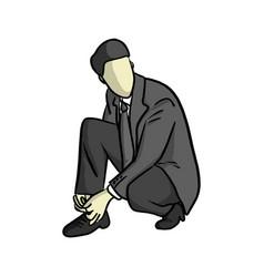 businessman ties up shoelaces vector image