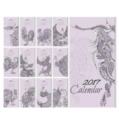 calendar 2017 year with mythical birds vector image