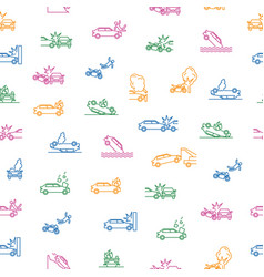 car accident thin line seamless pattern background vector image