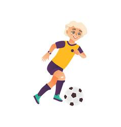 cartoon boy character playing football vector image