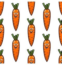 Cartoon carrot vegetables seamless pattern vector image