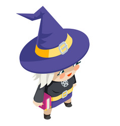cute witch girl isometric costume halloween vector image