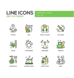 Diet and fitness - line design icons set vector