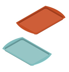 Empty tray for food Plastic salver for meal vector