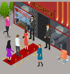 enter a club concept 3d isometric view vector image