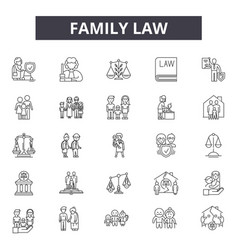 Family law line icons for web and mobile design vector