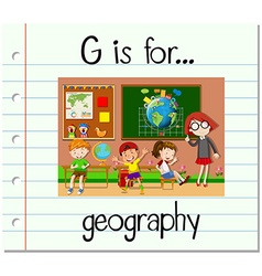 Flashcard letter G is for geography vector image