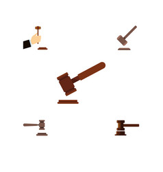 Flat icon lawyer set of justice legal government vector