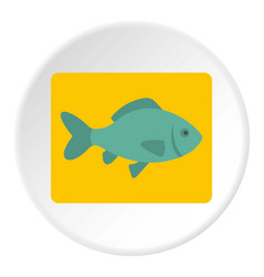 fresh raw fish icon circle vector image