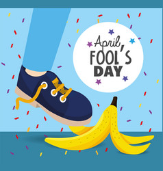 Funny banana with sneaker to fools day vector