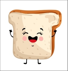 Funny toast bread isolated cartoon character vector