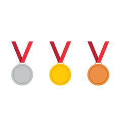 gold bronze and silver medal with ribbon icon vector image