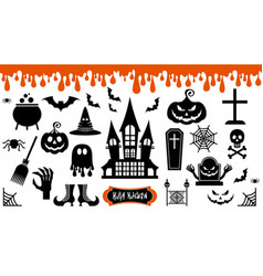 halloween icons set festive halloween decoration vector image