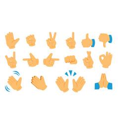 Hand emoticon social media gesture icons thumb vector
