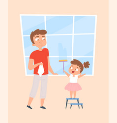 Happy cleaning girl washing windows family vector