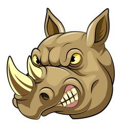 Head an angry rhino cartoon vector
