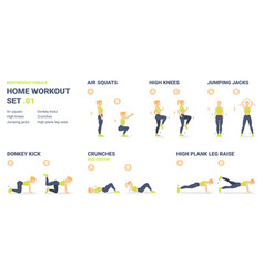 Home workout set set bodyweight exercise vector