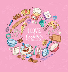 I love cooking poster vector