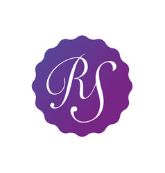 Initial letter rs in purple gradient badge vector