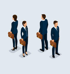 isometric businessmen front and back view vector image