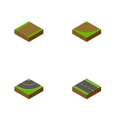 Isometric road set of single-lane footpath road vector