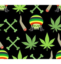 Jamaica drugs seamless pattern Rasta skull and vector