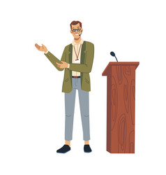 Lecturer speaking lectern with microphone isolated vector
