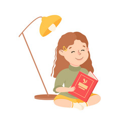 little girl sitting on floor and reading book vector image