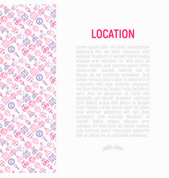 Location concept with thin line icons vector