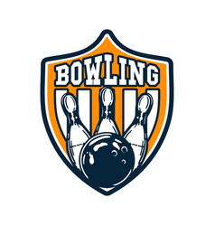 logo design bowling with bowling ball hitting pin vector image