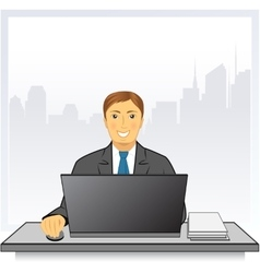 Man with laptop in business office on city vector