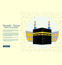 Marhaban ya ramadhan with hajj kaaba background vector