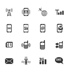 Mobile connection icon set vector