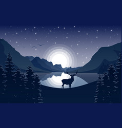 Mountain landscape with deer and lake at night vector