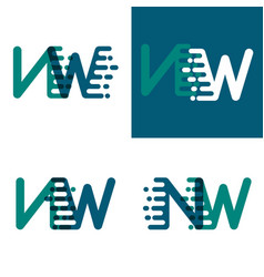 Nw letters logo with accent speed in green and vector