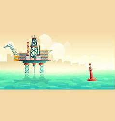oil extraction platform in sea cartoon vector image