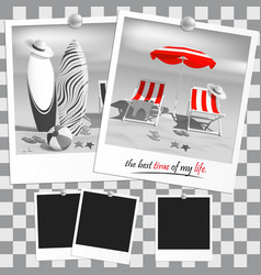 Old black and white photo summer surfboards vector