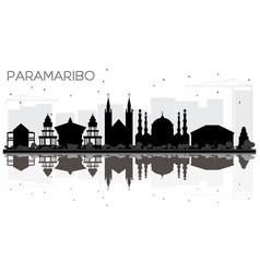 Paramaribo suriname city skyline black and white vector