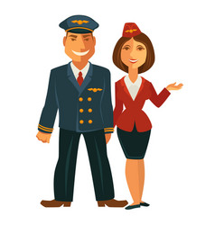 pilot and hostess together vector image