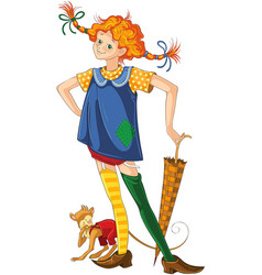 pippi longstocking with pet monkey cartoon vector image